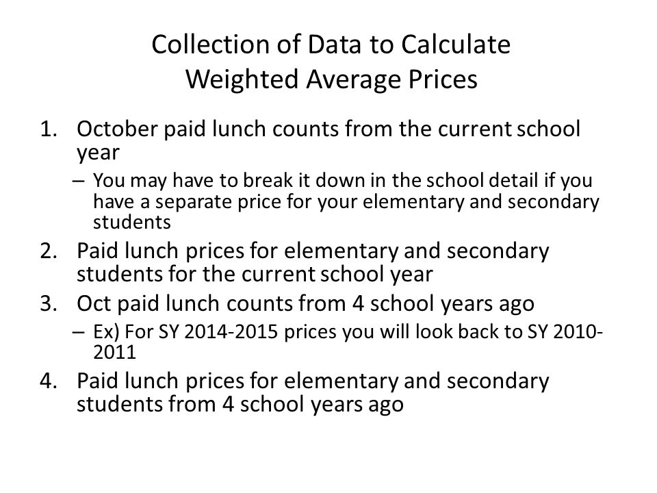 Collection of Data to Calculate Weighted Average Prices