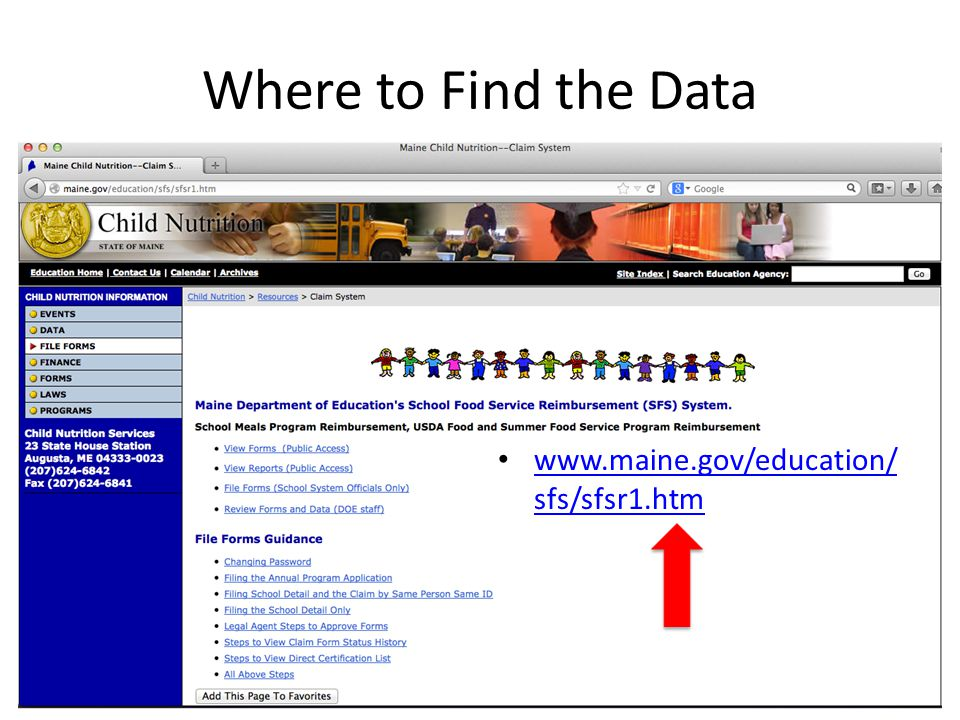 Where to Find the Data www.maine.gov/education/sfs/sfsr1.htm