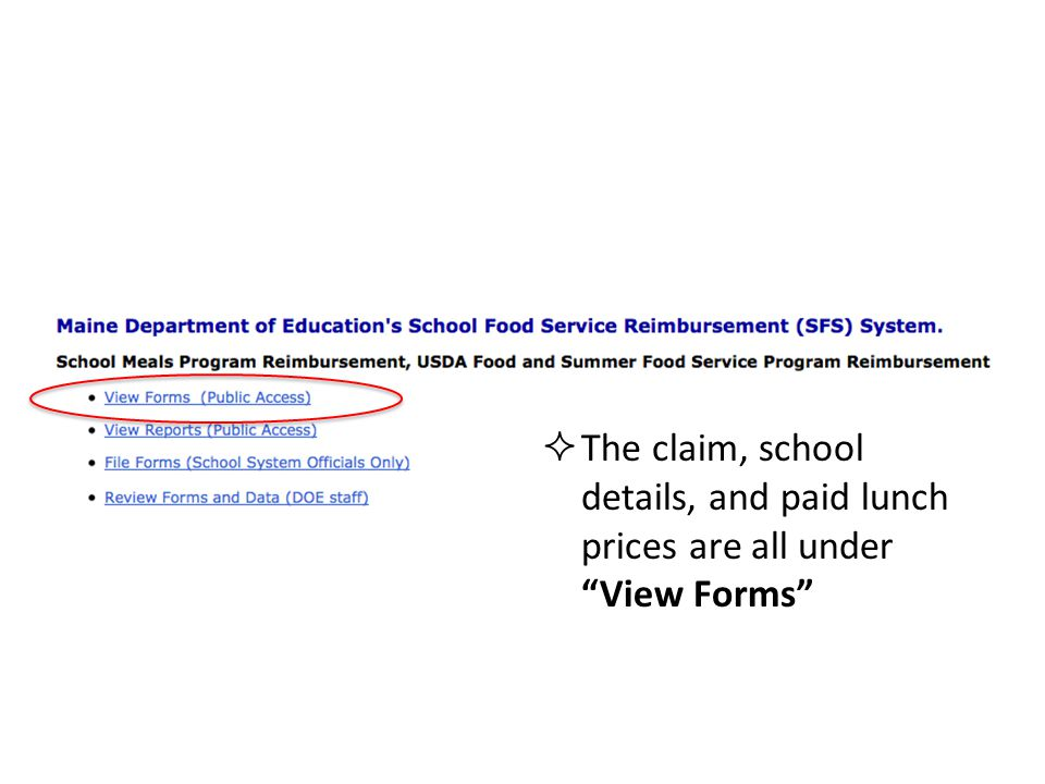 The claim, school details, and paid lunch prices are all under View Forms