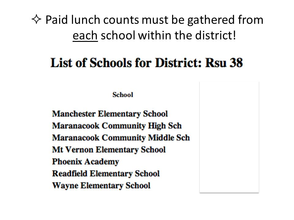 Paid lunch counts must be gathered from each school within the district!