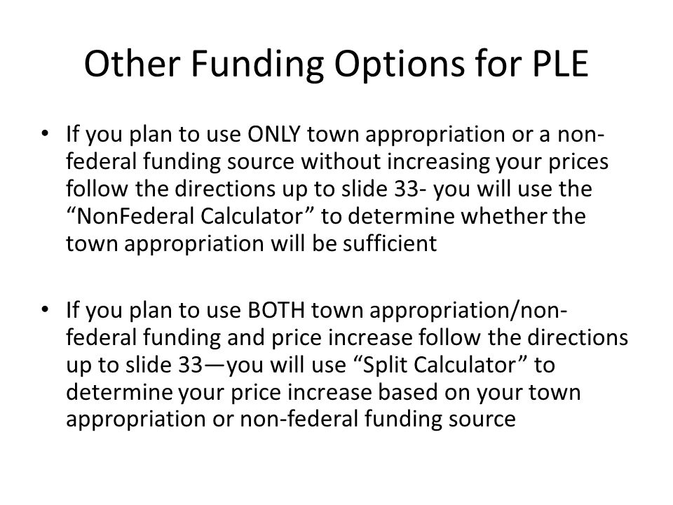 Other Funding Options for PLE