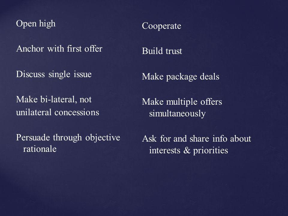 Anchor with first offer Discuss single issue Make bi-lateral, not