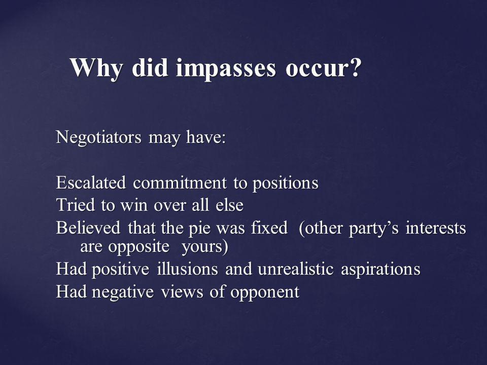 Why did impasses occur