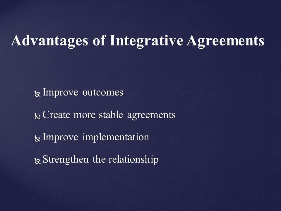 Advantages of Integrative Agreements