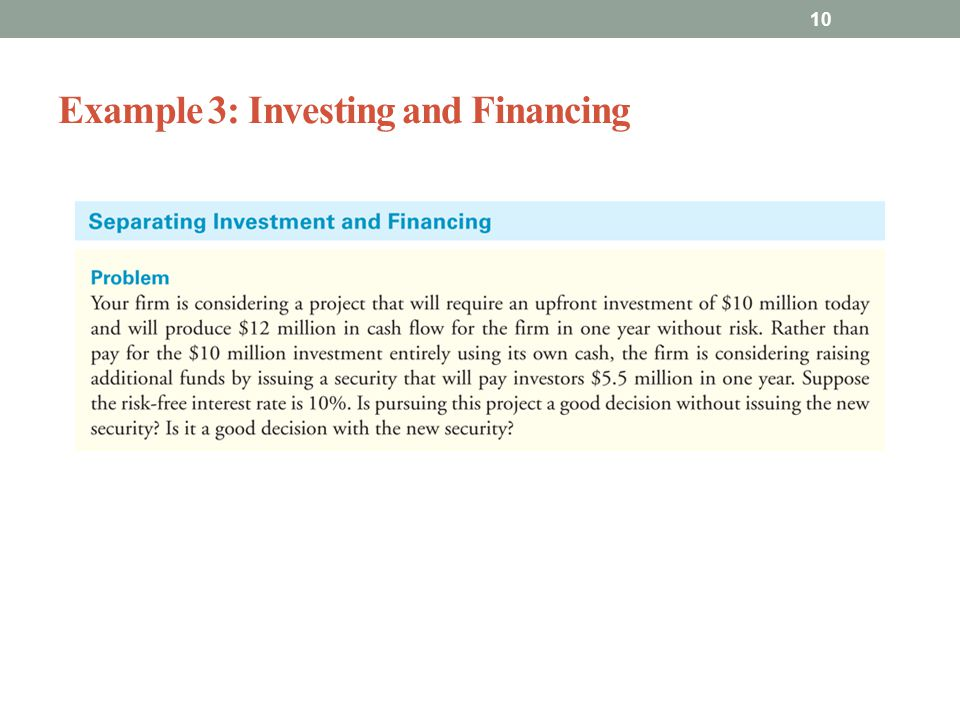 Example 3: Investing and Financing