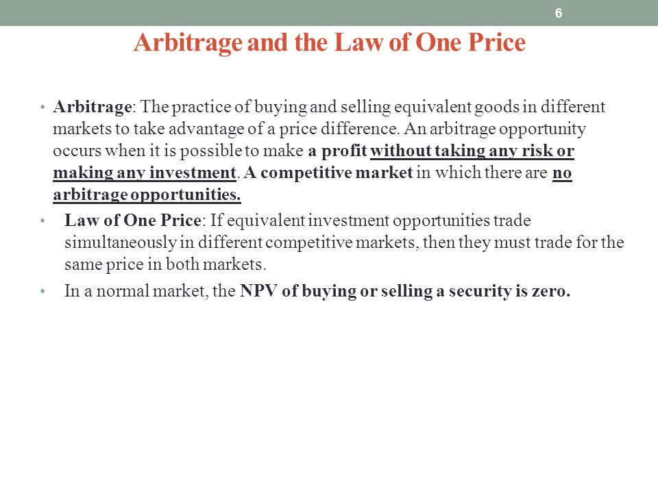 Arbitrage and the Law of One Price