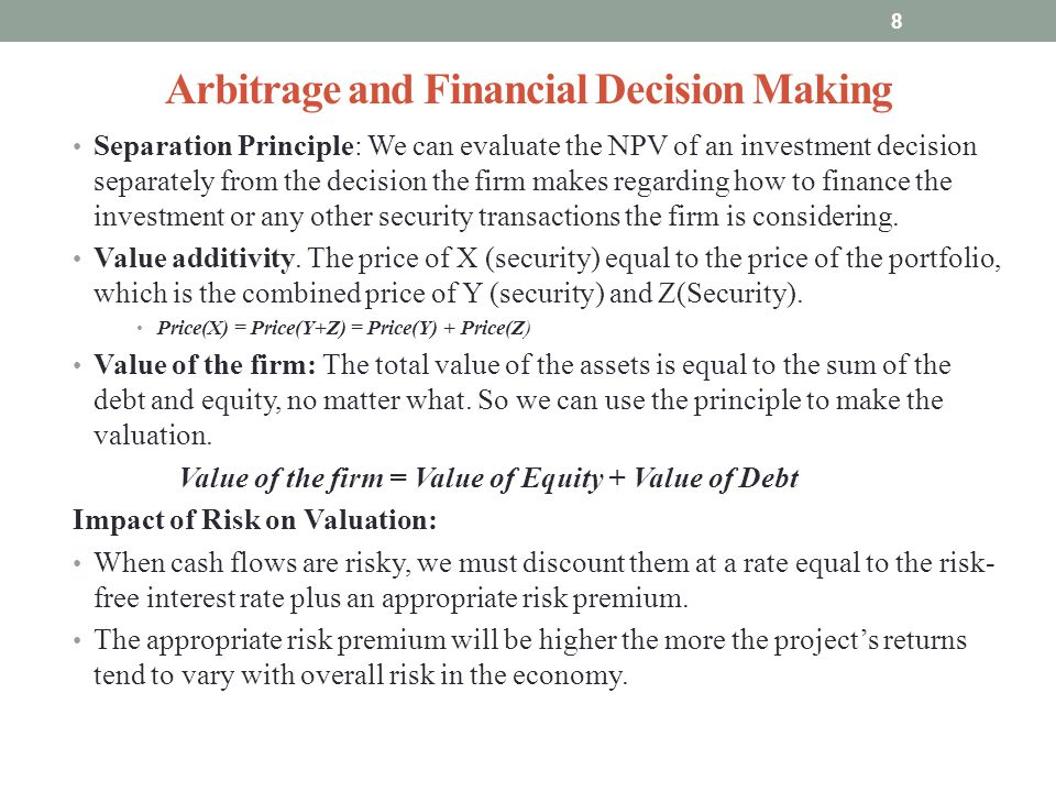 Arbitrage and Financial Decision Making