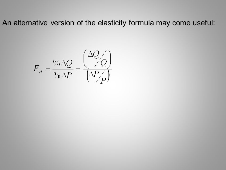 An alternative version of the elasticity formula may come useful: