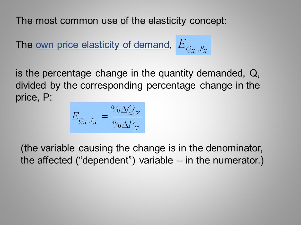 The most common use of the elasticity concept: