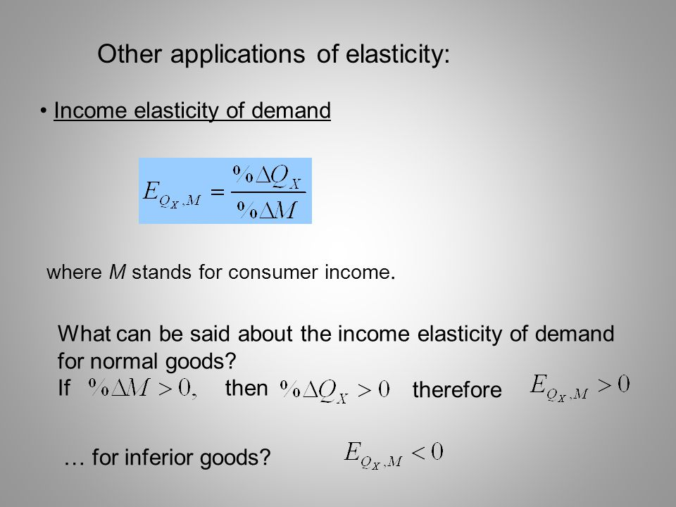 Other applications of elasticity:
