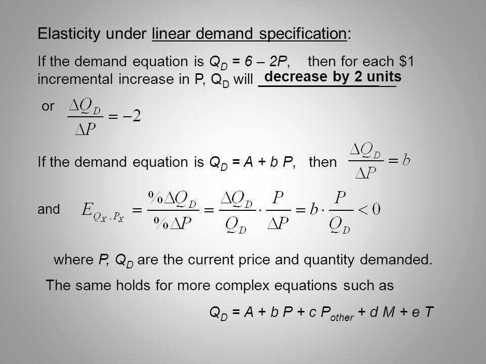 Elasticity under linear demand specification: