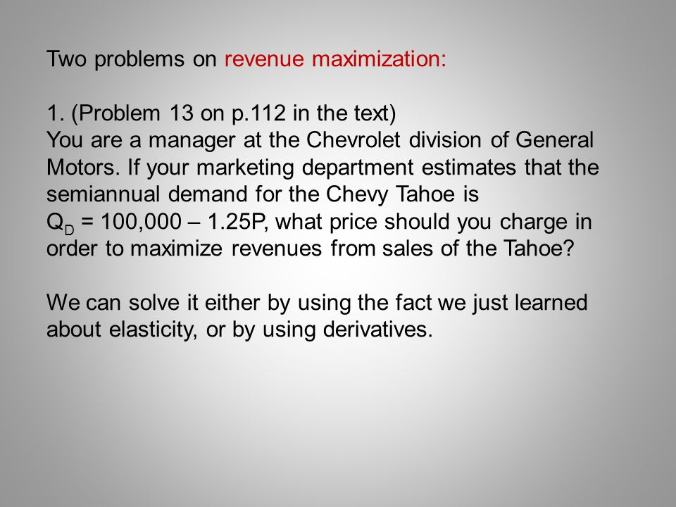 Two problems on revenue maximization:
