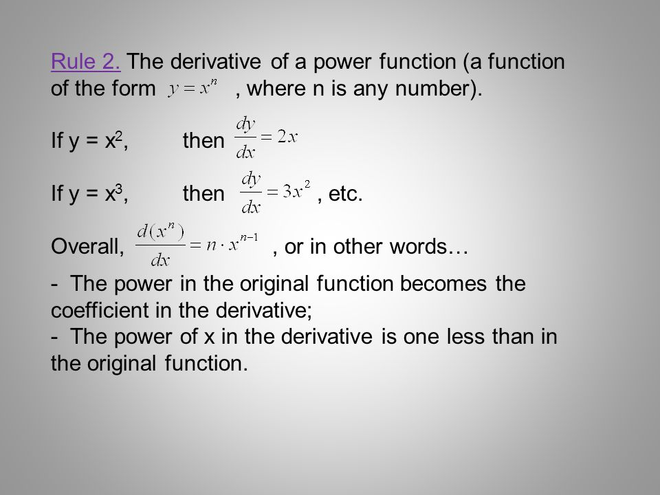 Rule 2. The derivative of a power function (a function of the form , where n is any number).