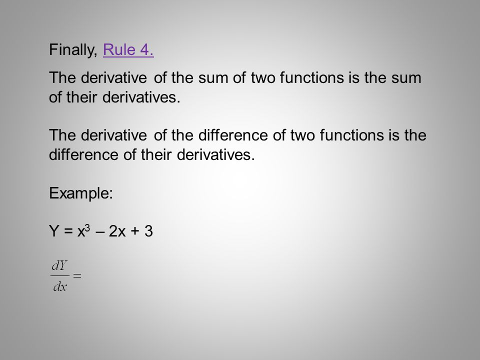 Finally, Rule 4. The derivative of the sum of two functions is the sum of their derivatives.