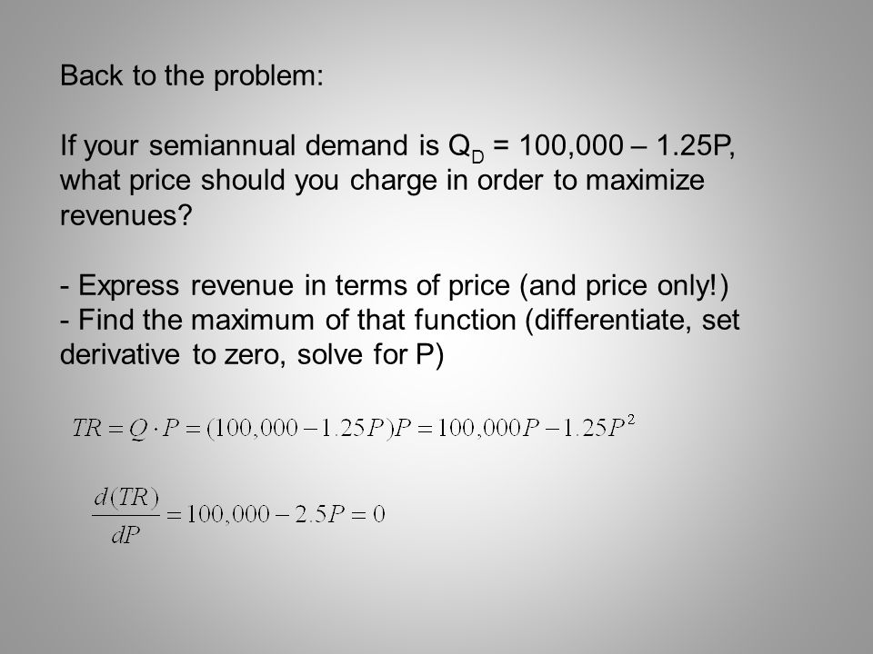 Back to the problem: If your semiannual demand is QD = 100,000 – 1.25P, what price should you charge in order to maximize revenues