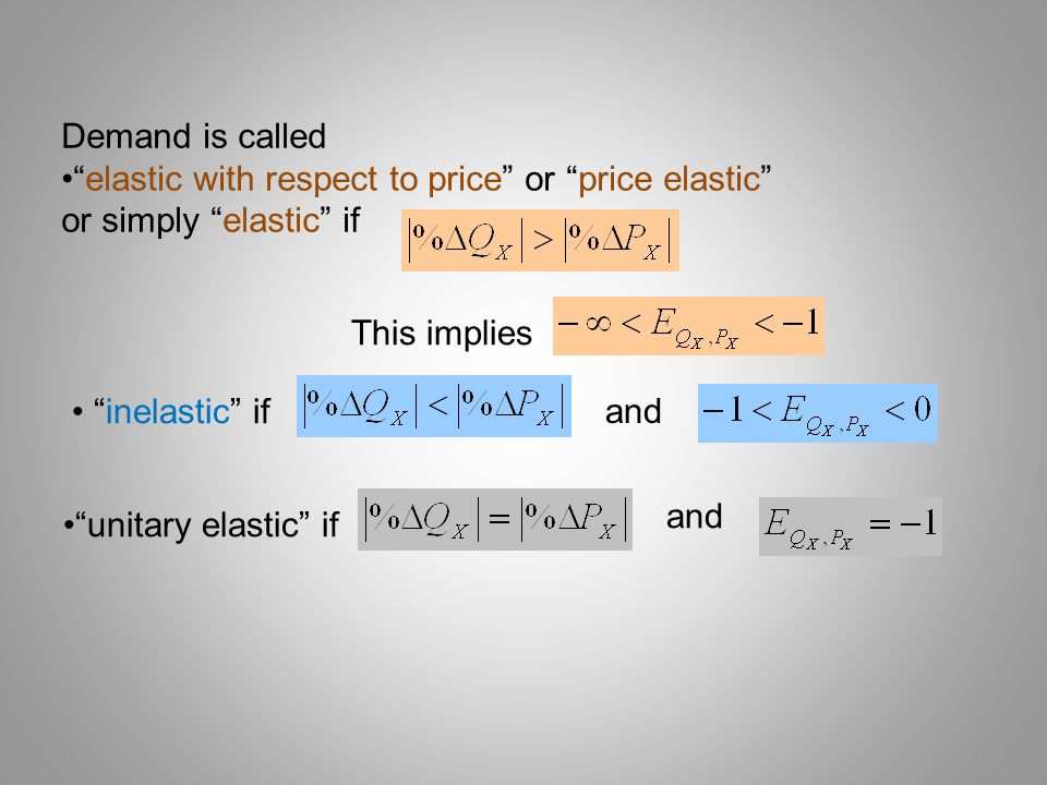 Demand is called elastic with respect to price or price elastic or simply elastic if. This implies.