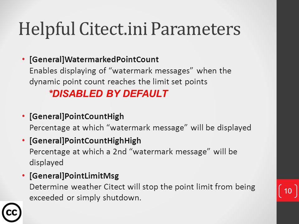 Helpful Citect.ini Parameters