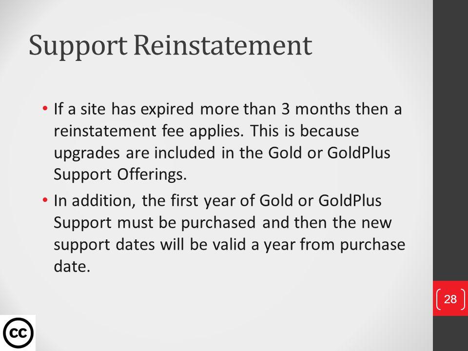 Support Reinstatement