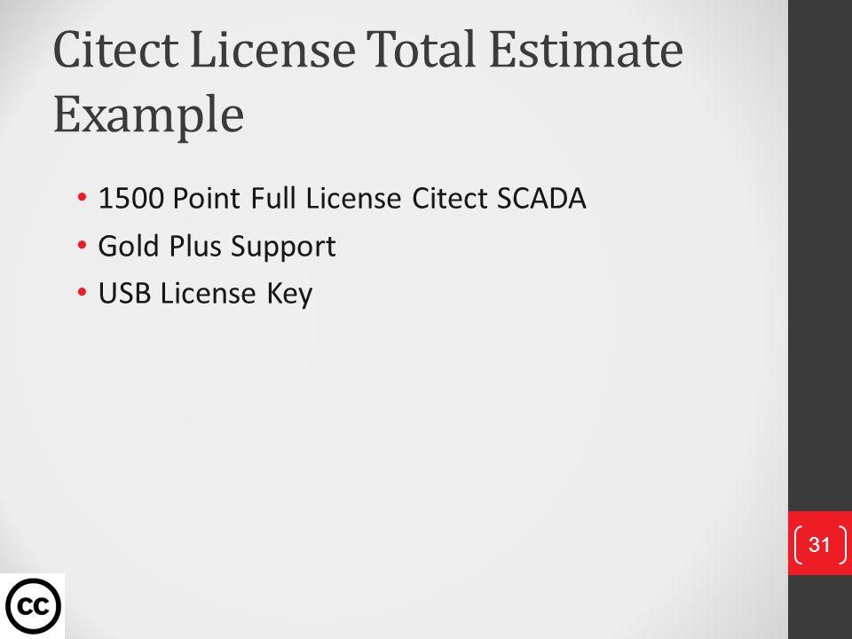 Citect License Total Estimate Example