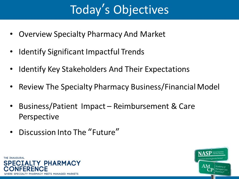 Today's Objectives Overview Specialty Pharmacy And Market