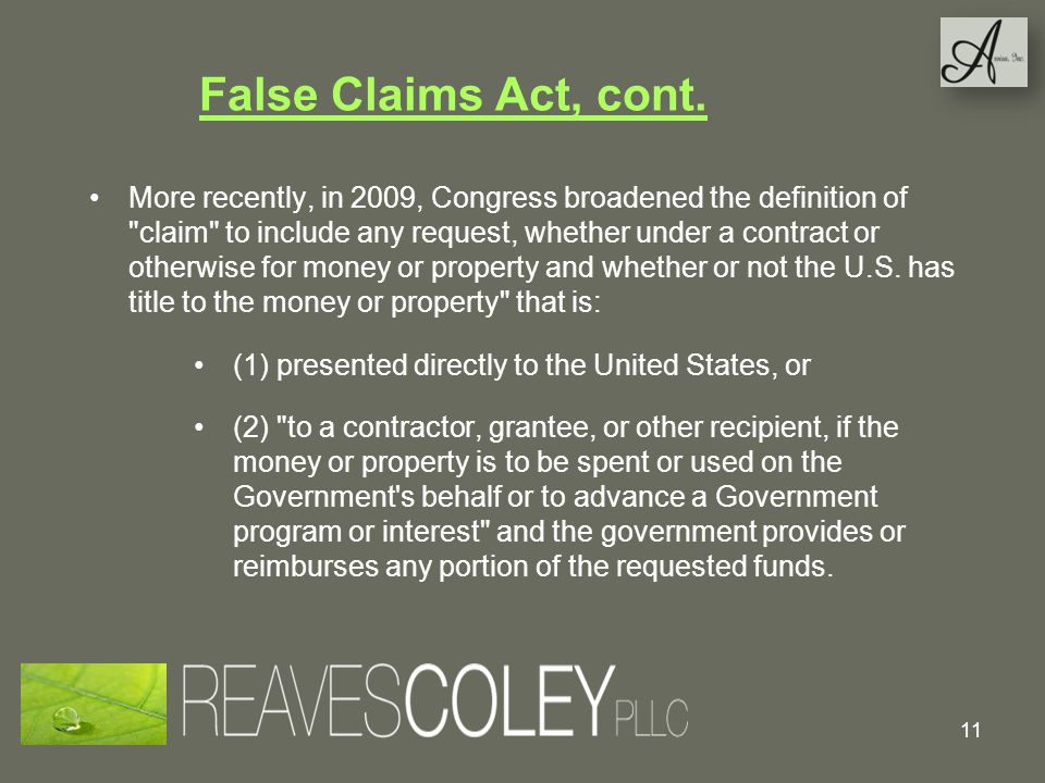 False Claims Act, cont.