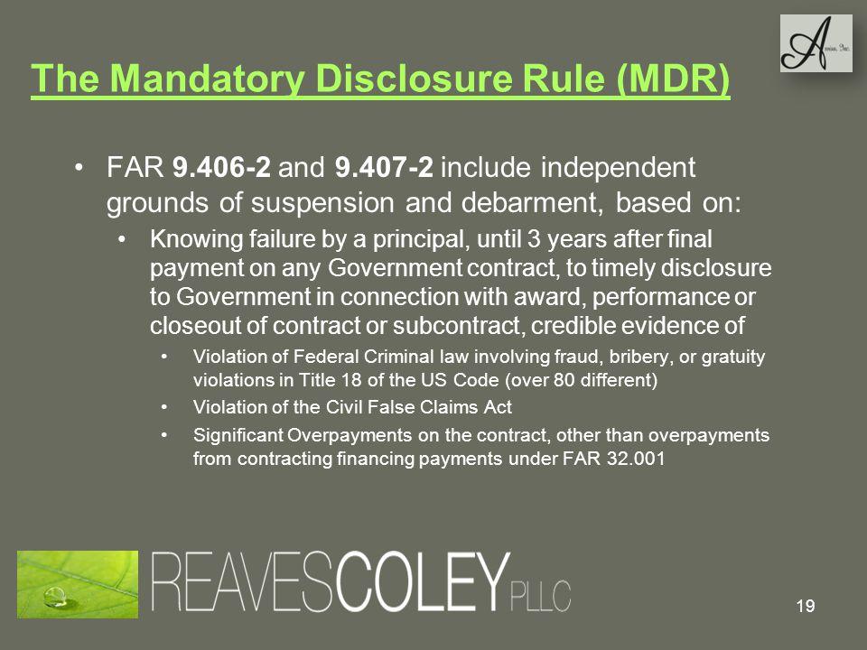 The Mandatory Disclosure Rule (MDR)