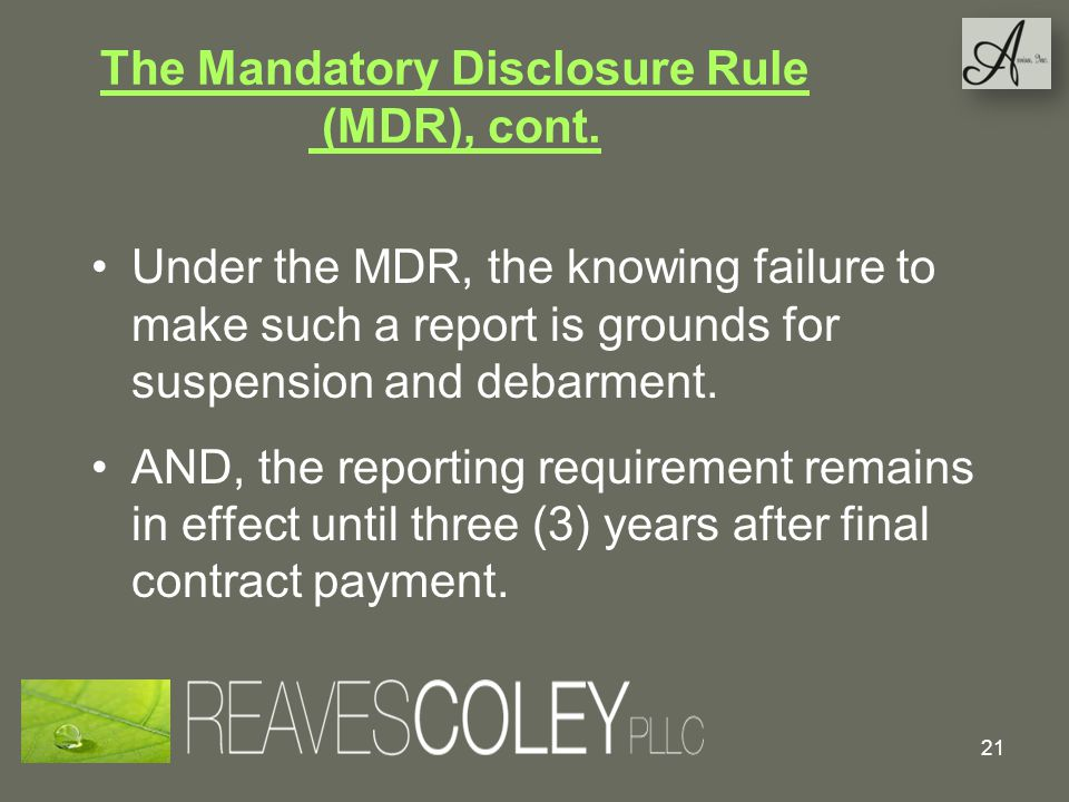 The Mandatory Disclosure Rule (MDR), cont.
