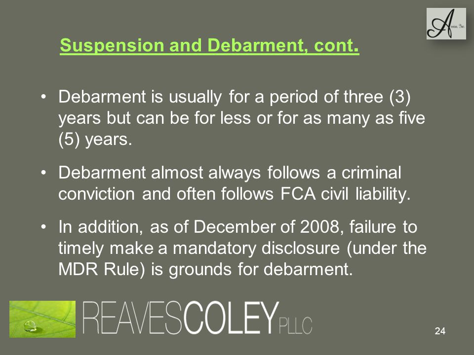 Suspension and Debarment, cont.