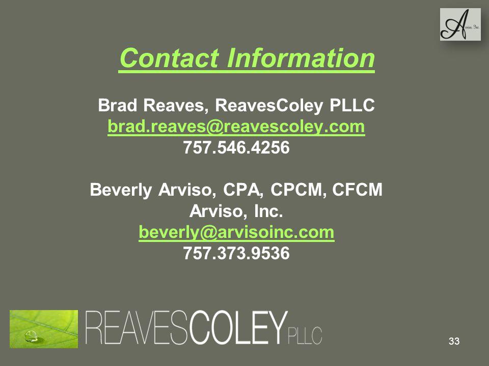 Brad Reaves, ReavesColey PLLC Beverly Arviso, CPA, CPCM, CFCM
