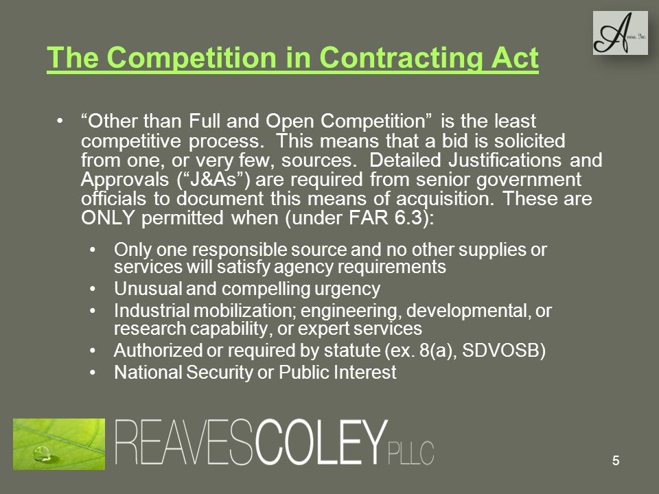 The Competition in Contracting Act