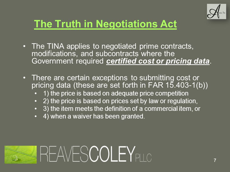 The Truth in Negotiations Act