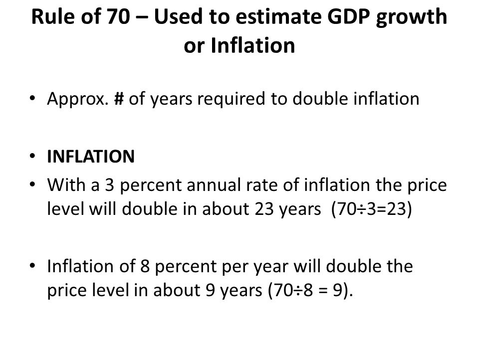 Rule of 70 – Used to estimate GDP growth or Inflation