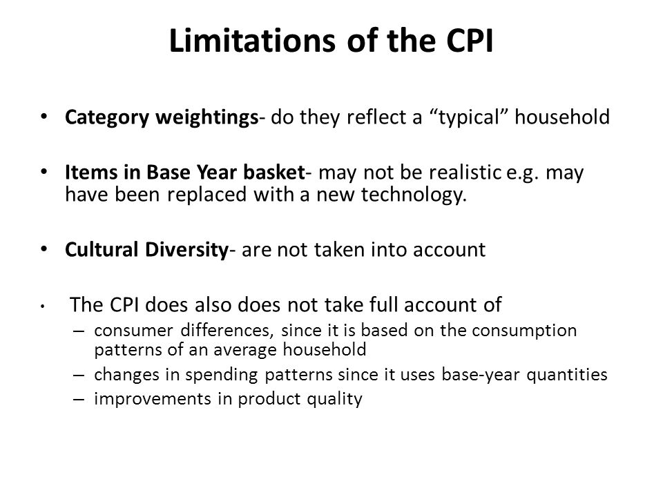 Limitations of the CPI Category weightings- do they reflect a typical household.