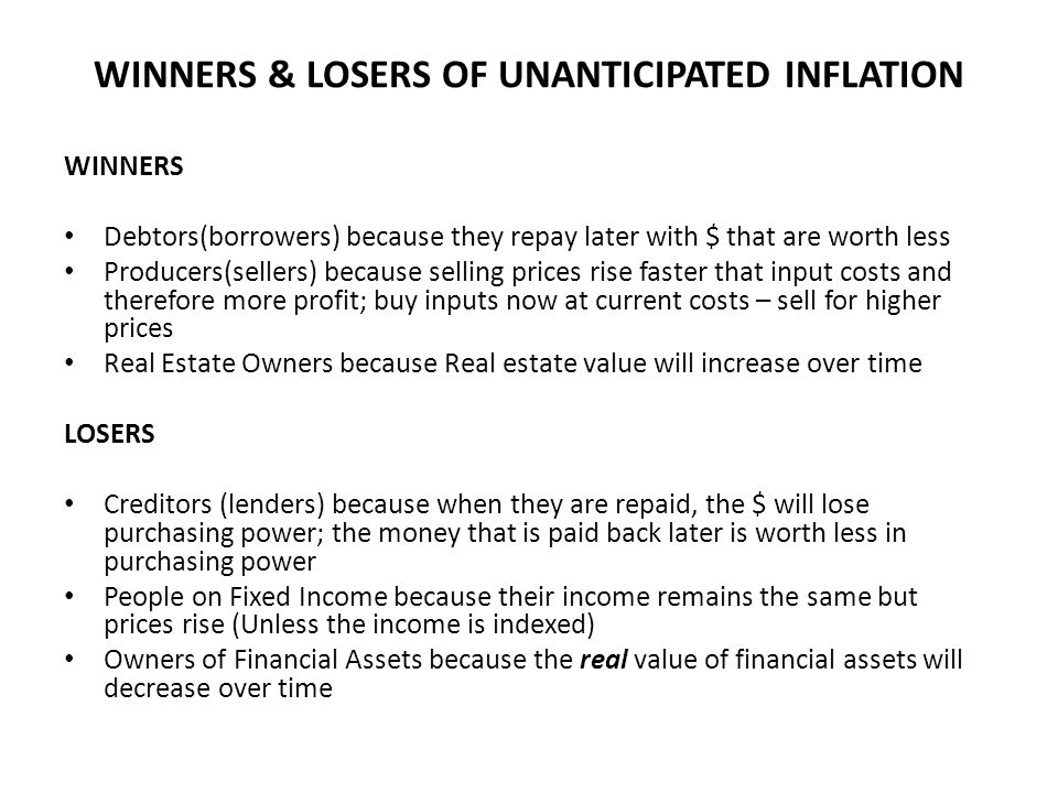 WINNERS & LOSERS OF UNANTICIPATED INFLATION
