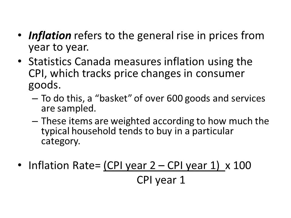 Inflation refers to the general rise in prices from year to year.