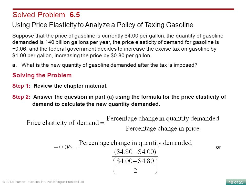 Solved Problem 6.5 Using Price Elasticity to Analyze a Policy of Taxing Gasoline.