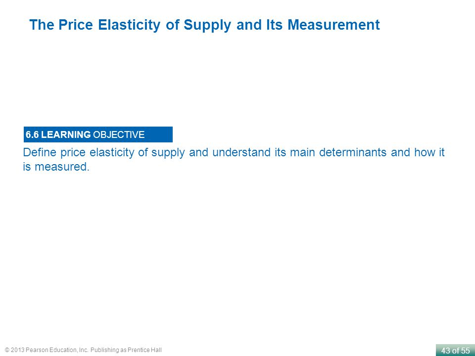 The Price Elasticity of Supply and Its Measurement
