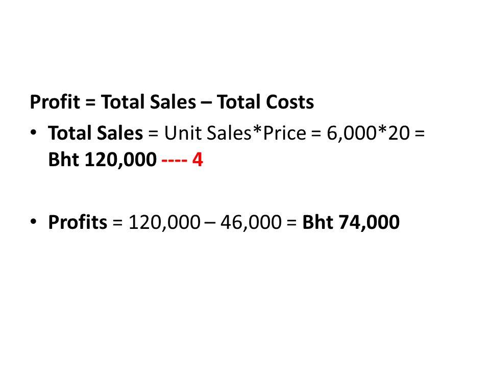 Profit = Total Sales – Total Costs