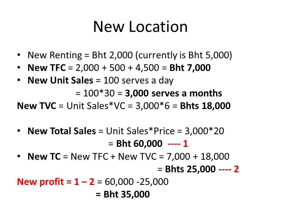 New Location New Renting = Bht 2,000 (currently is Bht 5,000)
