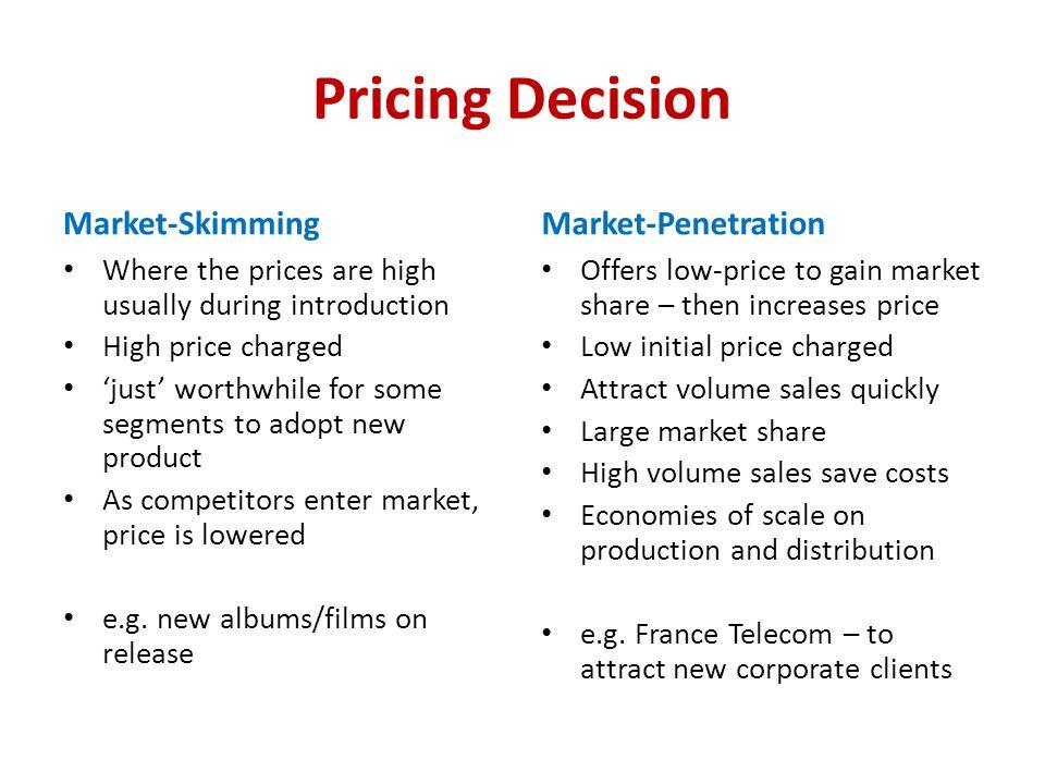 Pricing Decision Market-Skimming Market-Penetration