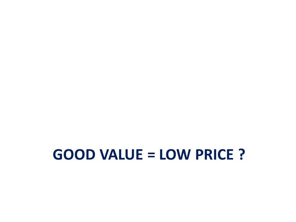 Good value = low price