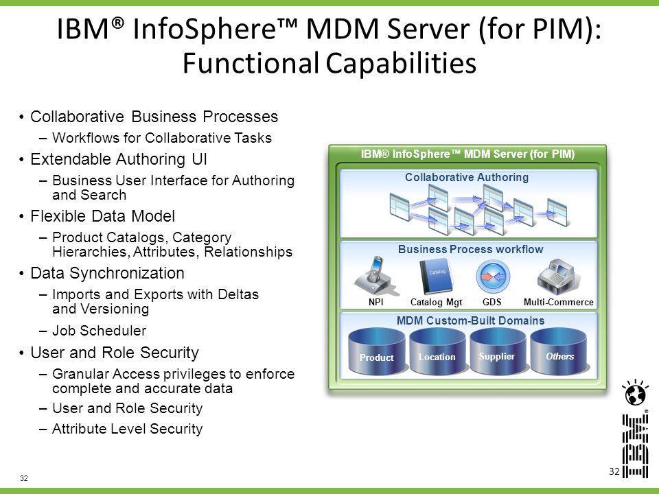 IBM® InfoSphere™ MDM Server (for PIM): Functional Capabilities