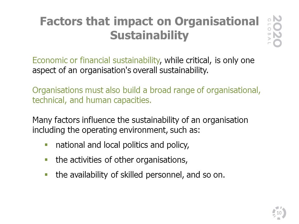Factors that impact on Organisational Sustainability