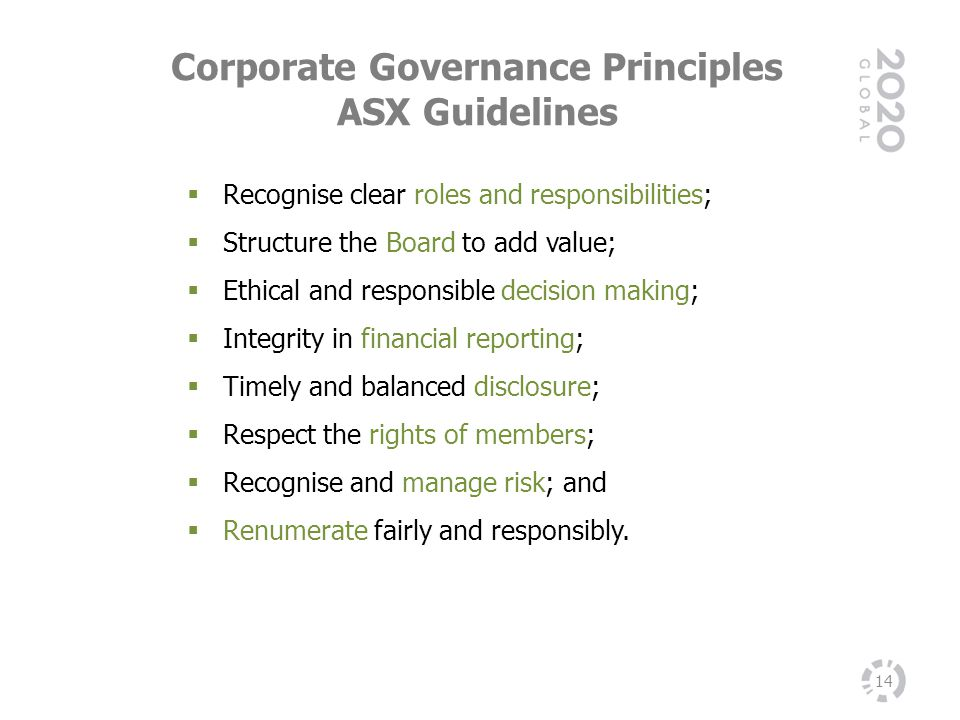 Corporate Governance Principles ASX Guidelines