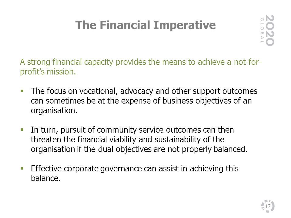 The Financial Imperative