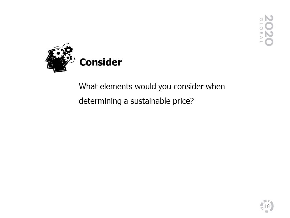 Consider What elements would you consider when determining a sustainable price.