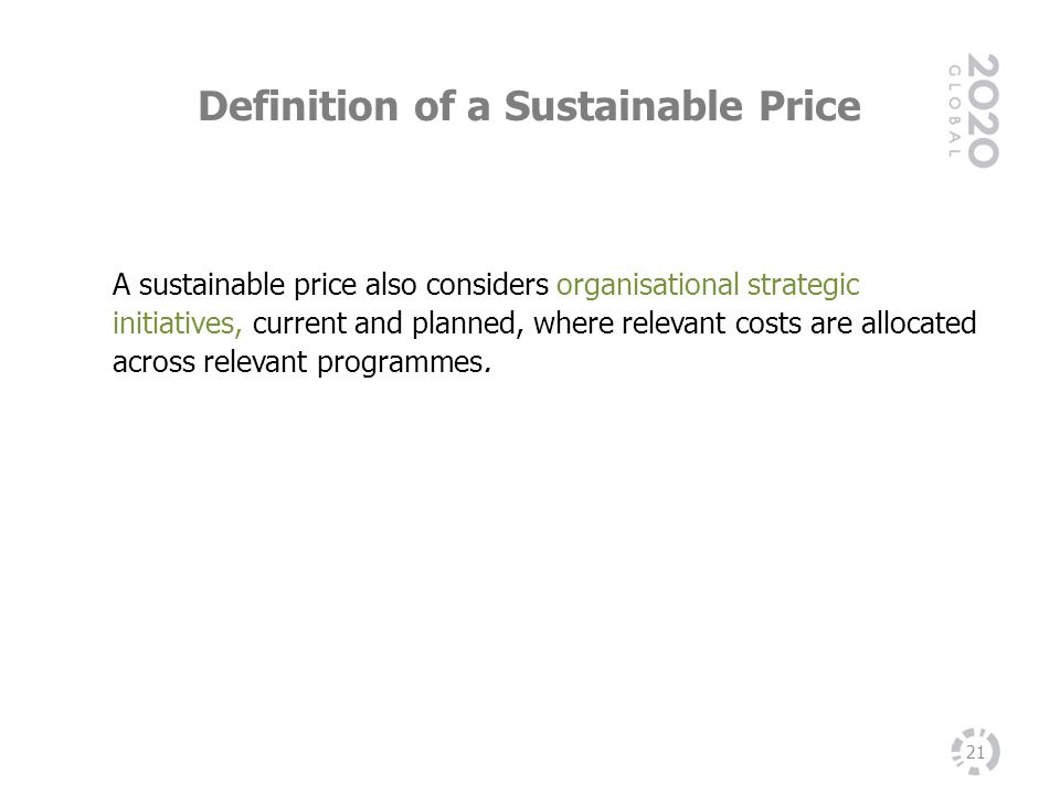 Definition of a Sustainable Price