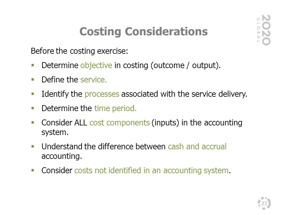 Costing Considerations