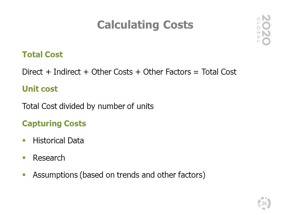 Calculating Costs Total Cost