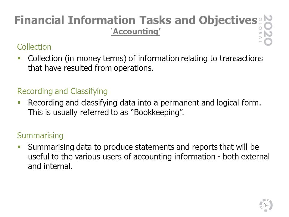 Financial Information Tasks and Objectives 'Accounting'